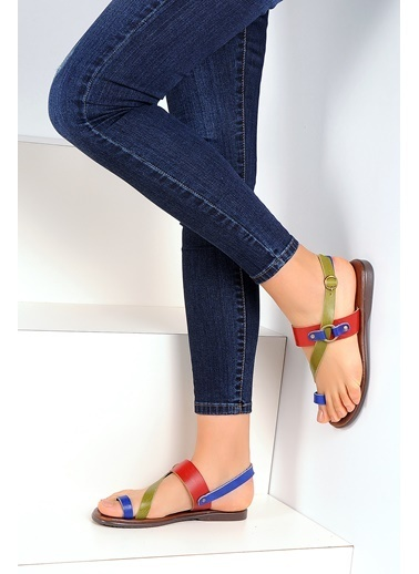 Pembe Potin A1107-19 Kadın Sandalet Renkli